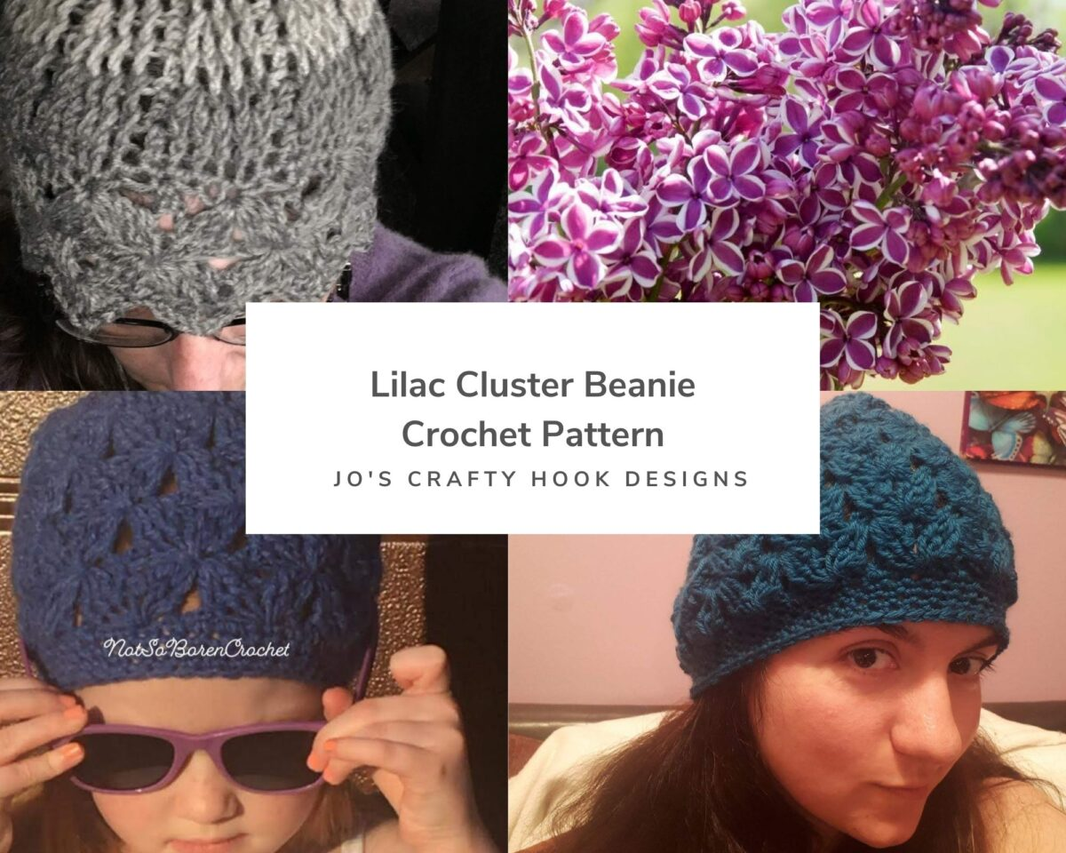 Lilac Cluster Beanie Free Crochet Pattern
