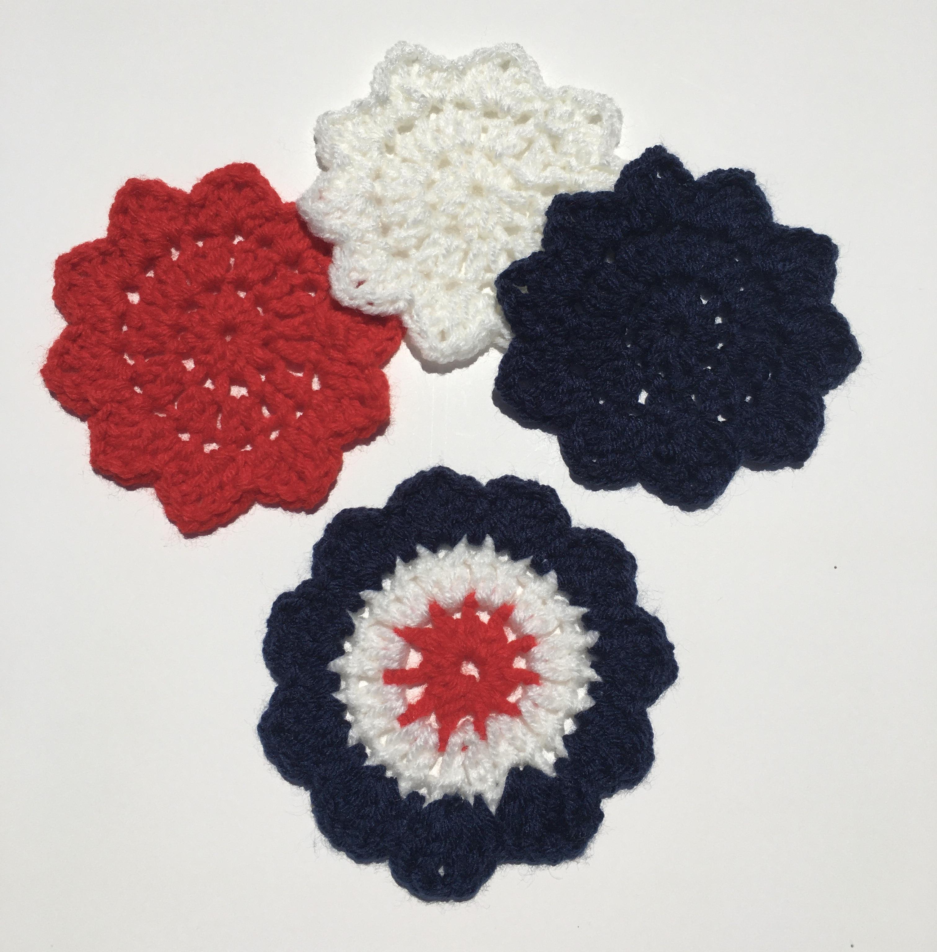 July 4th Star Flower Coasters Free Crochet Pattern