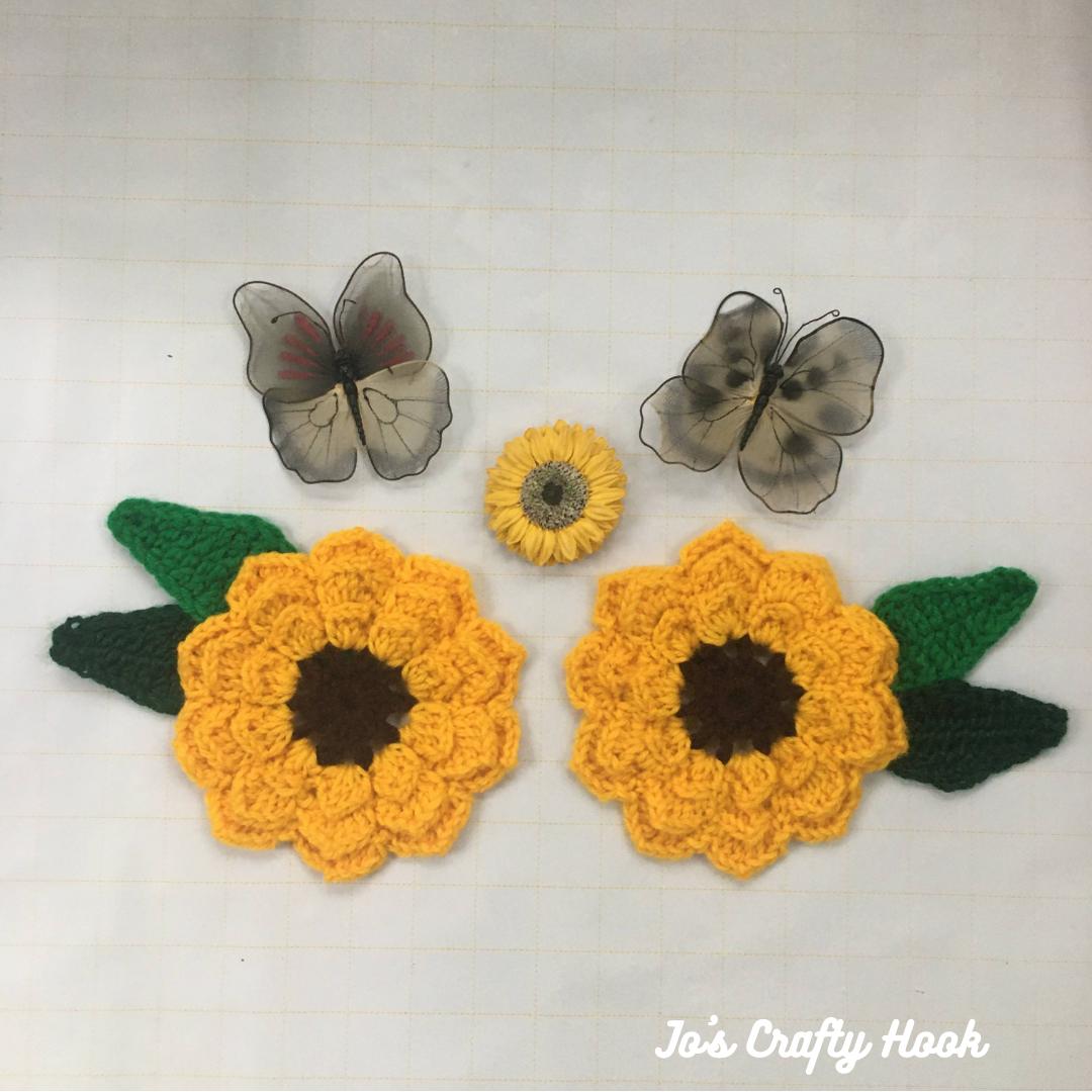 Sunflower Applique Free Crochet Pattern